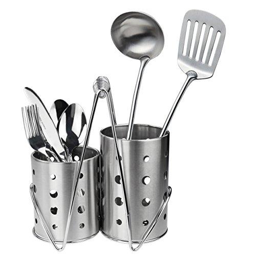 Ggbin Kitchen Flatware Caddy Holder Stainless Steel Utensil Organizer with Drain Holes