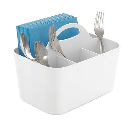 mDesign Silverware Flatware Caddy Organizer for Kitchen Countertop Storage Dining Table - White