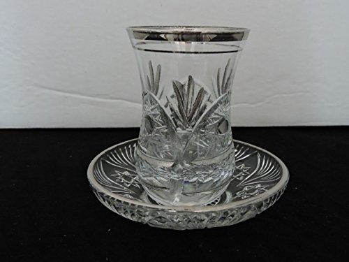 6 pieces crystal silver Turkish tea glasses tea set  68