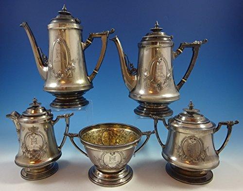 Wood and Hughes Coin Silver Tea Set 5pc Civil War Period w 3-D Elements 1375