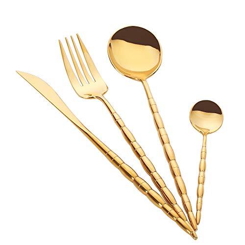 PHILIPALA Cutlery Set 20-Piece Flatware Silverware Set Stainless Steel Cutlery Set Service for 6include Dinner KnifeDinner ForkDinner SpoonDessert spoongold