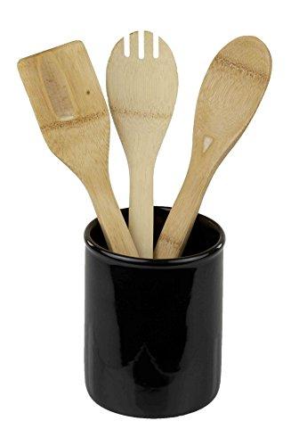 Home Basics Ceramic Cutlery Holder Black