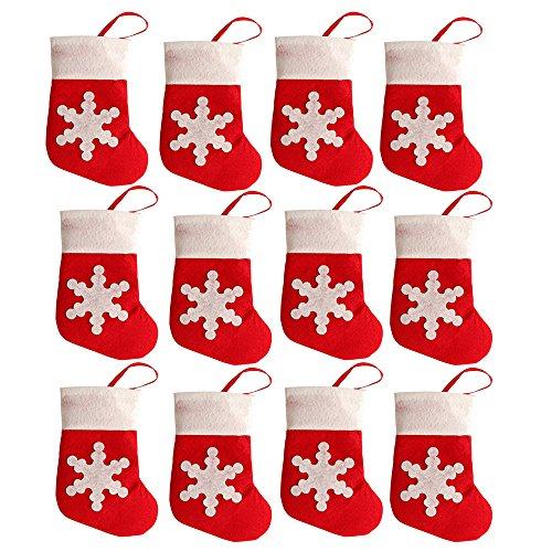 Shineweb 12Pcs Mini Christmas Sock Cutlery Holders Fork Knife Bags Tableware Decorations