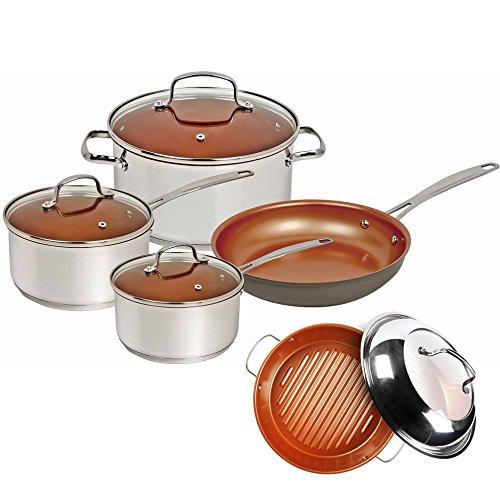 Nuwave Duralon Ceramic Non Stick 7 Piece Cookware w BBQ Grill Pan