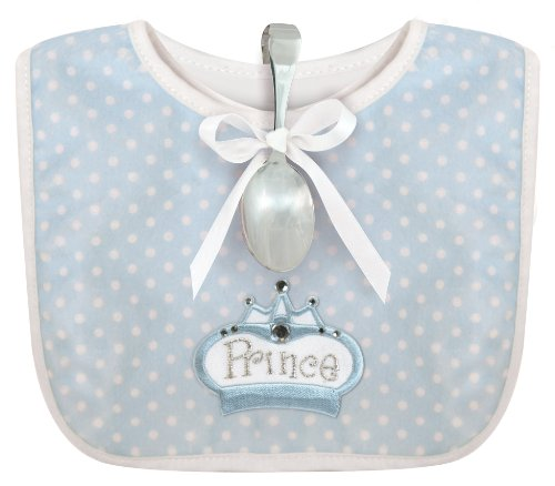 Stephan Baby Infant Boy Polka Dot Bib and Silver Plated Bent-Handled Spoon Gift Set Little Prince