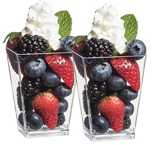 Zappy Square 5 oz Parfait Dessert Cup Shot Glasses Trifle Bowl Clear Plastic Souffle Mousse Party Cube Cups 20 Per Pack