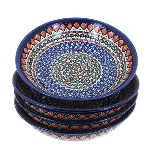 Polish Pottery Blue Horizon 4 Piece Large Salad Bowl Set