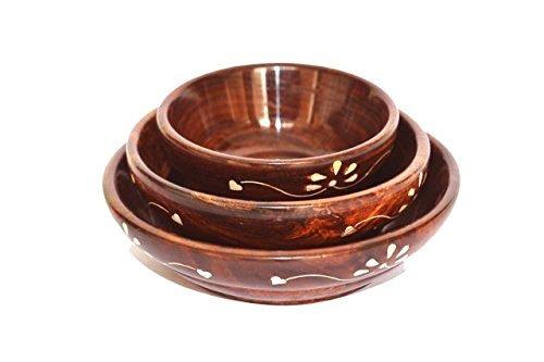 Dark Cherry Salad Soup Serving Handmade Wooden Bowls - Set of 3