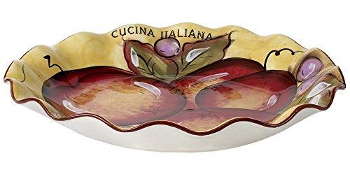 Original Cucina Italiana Ceramic 13-Inch Pasta Serving BowlBrown RimFruit Design