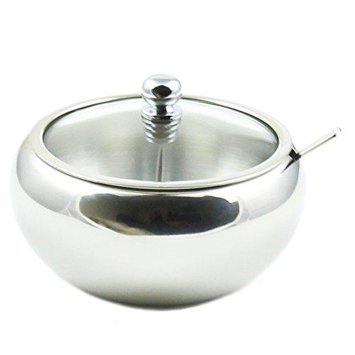 Zoie  Chloe Stainless Steel Sugar Bowl with Glass Lid - Bonus Spoon - 2 Cup Capacity 500ml