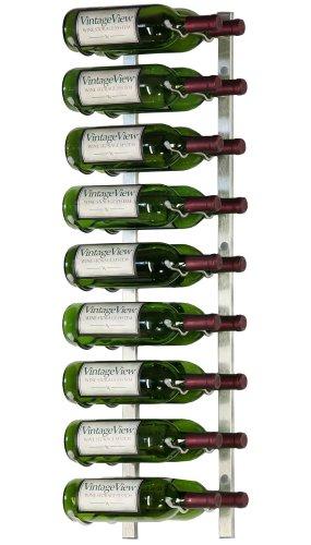 VintageView - WS32-P - 18 Bottle Wall Mounted Metal Hanging Wine Rack - 3 Foot Brushed Nickel