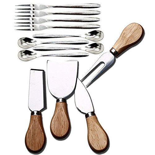 12PcsPack4 Pcs Set Cheese Knives with Wood Handle Steel Stainless Cheese Slicer Cheese Cutter 4 Psc fruit fork 4 Psc coffee spoon