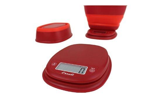 Escali B115PR Pop Digital Scale wCollapsible Bowl 11-Lb5kg Poppy Red by Escali