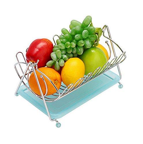 Fashion Home Basics Fruit Basket Stainless Steel Fruit Bowl Blue