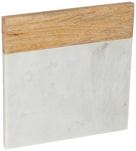 Creative Home Genuine White Marble Mango Wood Square Cheese Board Trivet 8 White