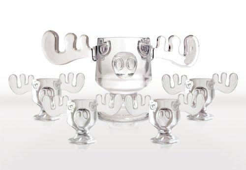 Christmas Vacation Glass Moose Mug Punch Bowl Set w Set of 4 Moose Mugs