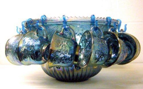 Vintage Indiana Blue Carnival Glass Princess Punch Bowl Set