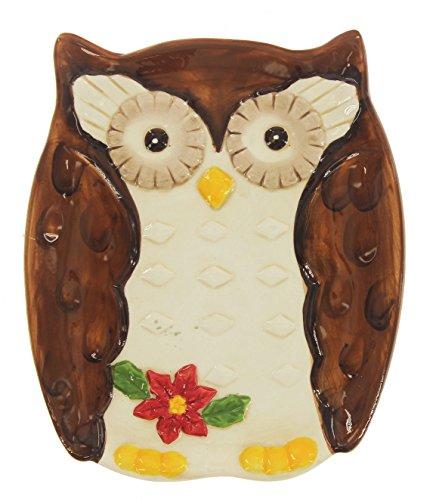 Carson 65 x 55 Ceramic Festive Poinsettia Owl Serving Plate