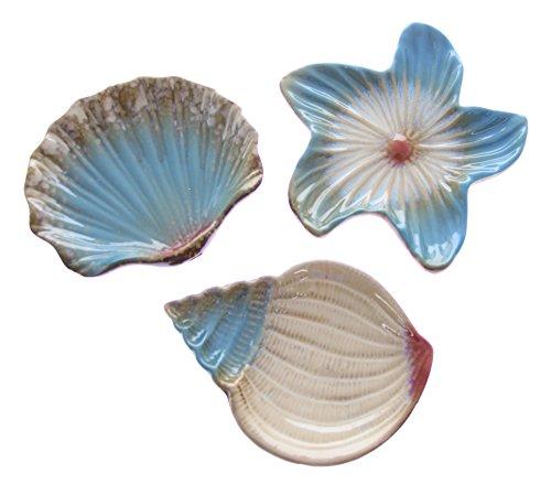 JustNile 3-Piece Ocean Seashell Serving PlateSoap Dish Set