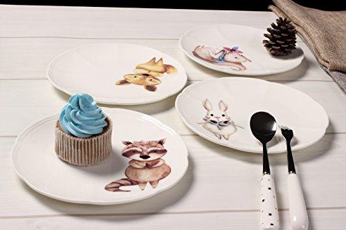 SOLECASA 6-inchSet of 4 PorcelainCeramic Cartoon Dinner PlateSaladDessertBread&Butter Serving PlateGreat as Holiday GiftPresent