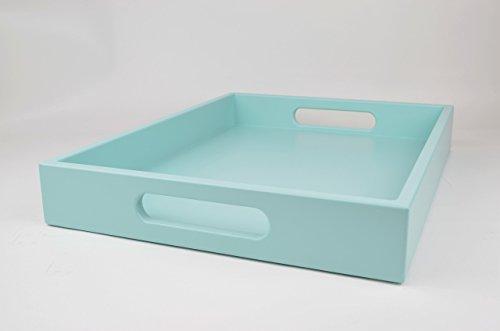 Wood Serving Tray with Handles Aqua Blue