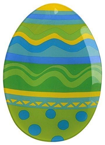 Boston International Large Easter Egg Glass Serving Plate 135 x 95-Inch GreenBlueYellow by Boston International