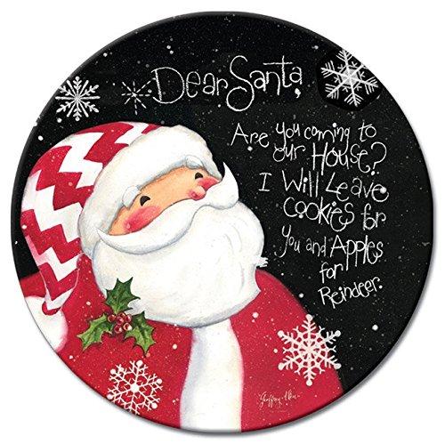 CounterArt Lazy Susan Glass Serving Plate Dear Santa