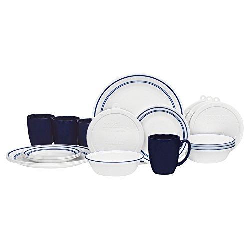 Corelle 20 Piece Livingware Dinnerware Set with Storage Classic Café Blue Service for 4