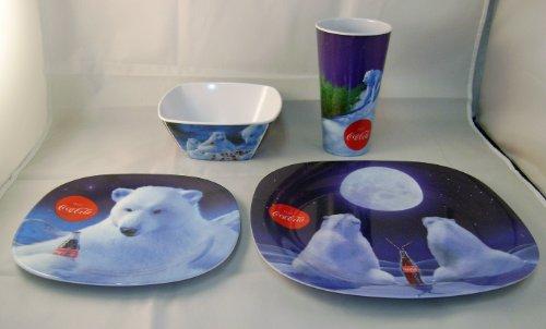 Coca Cola Plastic Dinnerware Set of 4 - Tumbler Bowl Dessert Dinner Plate