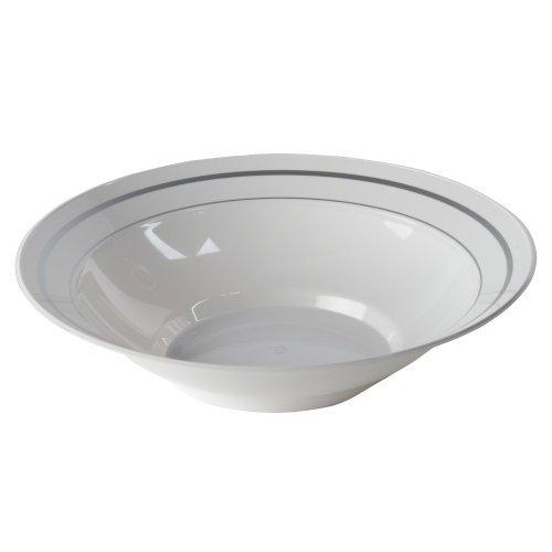 Masterpiece Plastic Dinnerware Bowl WhiteSilver 10 oz