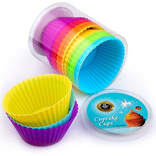 Cupcake Liners 24 pc Premium Silicone Cupcake Cases Wrappers Muffin Moulds – Reusable Non-Stick Muffin Cake Liners Perfect for Baking Gelatin Snack Frozen Treats Ice Cream Desert Molds Multicolor