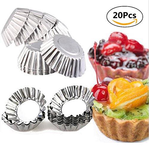 20pcs Baking Circular Egg Tart Aluminum Cupcake Cake Cookie Mold Lined Mould Tin Baking Tool Cake Cups Pie Pans