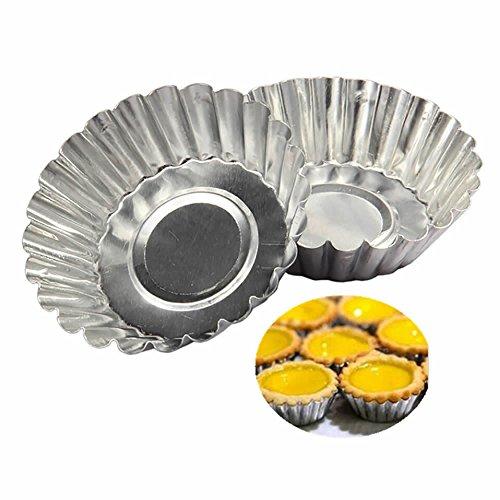 ISKYBOB 20 Pack Egg Tart Aluminum Cupcake Cake Cookie Mold Tin Reusable Baking Tool Baking Cups XL