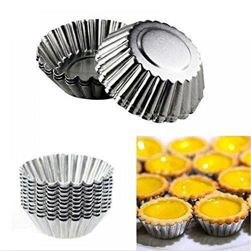 ORYOUGO 4 Sizes 50 Pack Egg Tart Aluminum Cupcake Cake Cookie Muffin Pudding Mold Tin Baking Tool Baking Cups