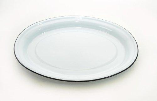 Enamewlare Solid White WBlack Trim Oval Serving Platter-175LX 13W