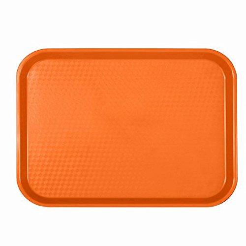 FAST FOOD SERVING TRAYS SET OF 12 DOZEN PLASTIC  CAFETERIA  RESTAURANT Orange 12 X 16 14