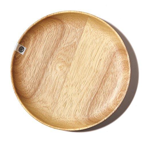 Natural Wood Serving Tray Tea Food Dinnerware Bar Platter Round Wooden Plate NEW M