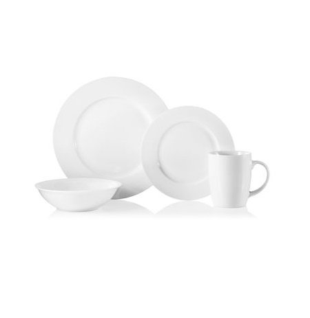 32 Piece Natural White Porcelain Dinnerware Set Service of 8 Dinner Plates Salad Plates Bowls and Mugs