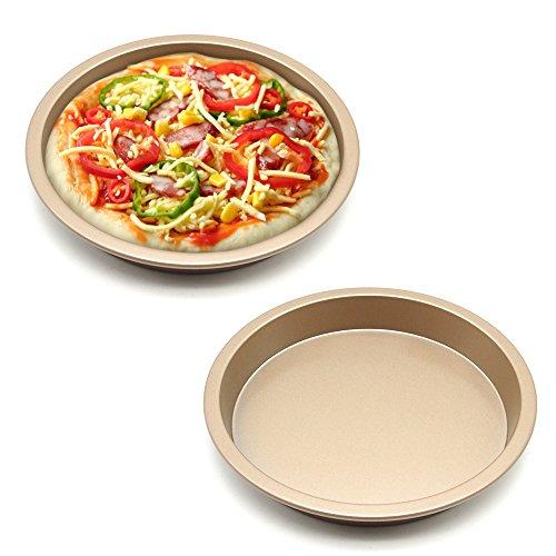 MZCH Non-Stick Quiche Tart Pan Tart Pie Pan Round Pizza Pan Gold 7 inches