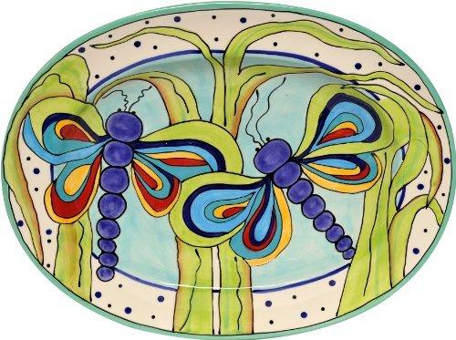 Caffco International Dana Wittmann Jumbo Oval Ceramic Serving Platter Bold Dragonfly by Caffco International