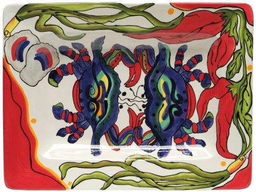 Caffco International Dana Wittmann Jumbo Rectangular Ceramic Serving Platter Crab Pepper Oyster Design
