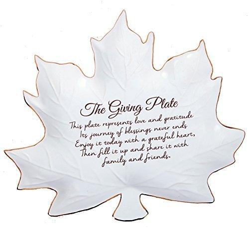 Fall Leaf Shaped Giving Plate 9 Inch Gold Trimmed Ceramic Serving Platter