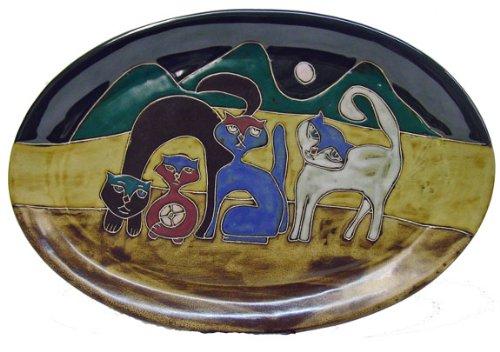 Mara Ceramic Stoneware 16 Inch Cats Large Oval Serving Platter