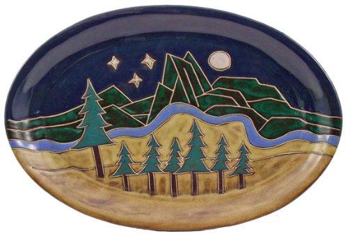 Mara Ceramic Stoneware 16 Inch Mountain Scene Large Oval Serving Platter