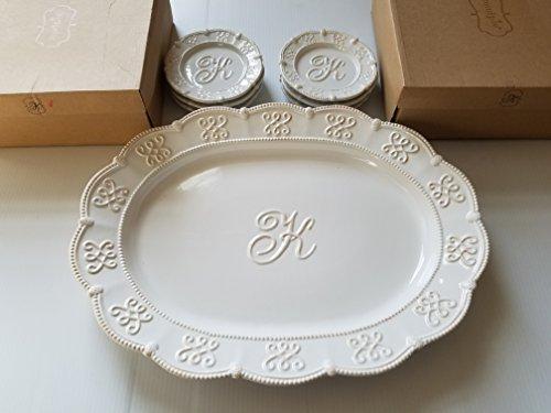 White Ceramic Serving Platter with Monogrammed Center Initial K and 8 Dessert Plates  BONUS 6 Accent Plates - Mud Pie