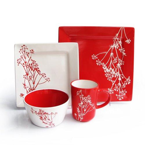 American Atelier Blossom Branch 16-Piece Dinnerware Set Red