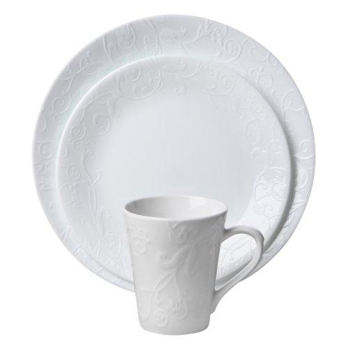 Corelle Embossed Bella Faenza 16-Piece Dinnerware Set Service for 4 White
