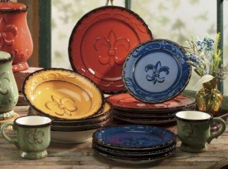 Tuscany Fleur De Lis 16 Piece Dinnerware Set