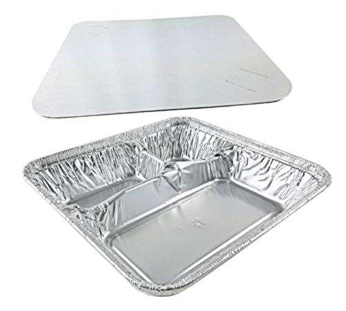 Handi-Foil Large 3-Compartment Oblong Tv Dinner Aluminum Tray Pan wLid 50Pk pack of 50