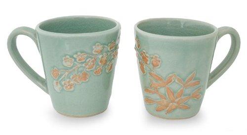 NOVICA Floral Dinnerware Ceramic Coffee Mugs Green Golden Orchid Pair